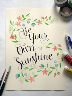 Lettering and watercolor via happy hands project water color calligraphy, watercolor calligraphy quotes, calligraphy Calligraphy Letters, Modern Calligraphy, Calligraphy Quotes Doodles, Art Quotes, Tattoo Quotes, Quote Art, Quotes Girls, Beer Quotes, Inspirational Quotes