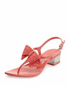 Perala Lace-Bow Jelly Sandal by Salvatore Ferragamo at Neiman Marcus.