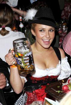 Women Drinking Beer — Hayden Panettiere Wearing Dirndl At Oktoberfest Munich, Octoberfest Girls, Beer Maid, Beer Girl, Hayden Panettiere, German Beer, Beer Festival, Best Beer, Beer Lovers