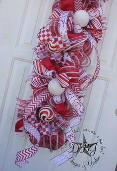 Candy Cane Christmas Deco Mesh Swag