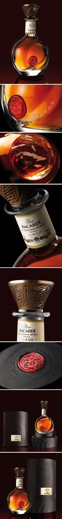 Bacardi 150 anniversary celebration bottle and decanter Cool Packaging, Beverage Packaging, Bottle Packaging, Packaging Design, Alcohol Bottles, Liquor Bottles, Drink Bottles, Vodka, Tequila