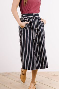 The Andrew Striped Button Down Skirt in Navy + Camel
