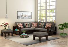 Buy Winster L-Shaped Wooden Sofa (Warm Grey, Walnut Finish) Online in India - Wooden Street Corner Sofa Wooden, Wooden Sofa Designs, Wooden Street, Outdoor Furniture Sets, Outdoor Decor, Warm Grey, L Shape, Walnut Finish, Modern Sofa