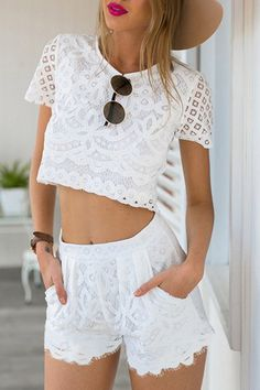 Guipure Lace Crop Top + White Shorts Twinset