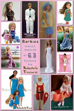 Crochet Doll 63 Delightful Barbie Crochet Patterns via Crochet Doll Dress, Crochet Barbie Clothes, Crochet Doll Pattern, Knitted Dolls, Crochet Patterns, Doll Patterns, Barbie Und Ken, Free Barbie, Barbie Clothes Patterns