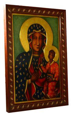 Matka Boska Częstochowska - kopia ikony - Pracownia Temper Madonna Art, Blessed Virgin Mary, Tempera, Mona Lisa, Ornament, Artwork, Painting, Catholic, Polish