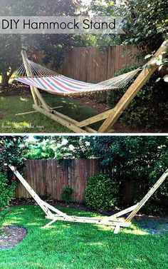 On a Budget Hammock Stand | 10 DIY Hammock Stand Ideas | How To Make A Portable Swing - Great DIY Projects For Camping, Indoor Or Outdoor Home Style by DIY Ready at http://diyready.com/10-diy-hammock-stand-ideas/