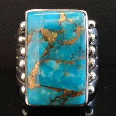 Native American Navajo Sterling Silver KINGMAN GOLD TURQUOISE RING Womens s7.5