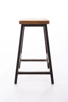 Low bar stool industrial style made with steel square tube and English oak seat.  sc 1 st  Pinterest & Taburet Wooden Bar Stool $350 no ? return walnut/white oak 79cm ... islam-shia.org