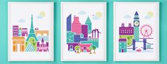 Love these. What a momento Paris, London & NYC Wall Art HOLIDAY SPECIAL Set Of Three Prints