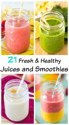 These 21 Fresh & Healthy Juices and Smoothies are not only extremely tasty but will completely energize you and fill you up with loads of nutrients!