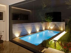 Sleek Glass and Wood House Extension With Matching Swimming Pool Small Swimming Pools, Small Pools, Swimming Pools Backyard, Swimming Pool Designs, Backyard Landscaping, Landscaping Ideas, Small Outdoor Patios, Small Backyard Patio, Backyard Patio Designs