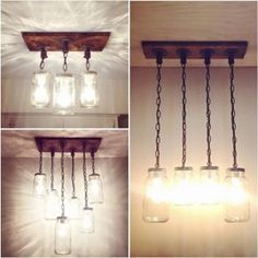 A handmade industrial, one of a kind mason jar chandelier that will take you back to simple, ordinary things. The neat combination of wood, pipe and mason jars will make everyone stop, stare and wonder! Mason Jar Light Fixture, Mason Jar Chandelier, Ceiling Chandelier, Rustic Chandelier, Mason Jar Lighting, Ceiling Lights, Chandelier Ideas, Ceiling Ideas, Ceiling Design