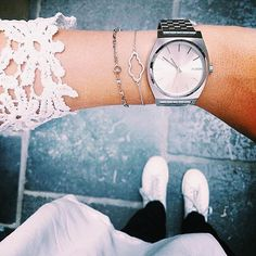 @goodmorninglemon and her Nixon Time Teller white watch - white face - silver stainless steel case and band - essential - fashion