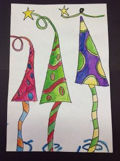 Color It Like you MEAN it! Whimsical Christmas Trees, Christmas Tree Painting, Christmas Drawing, Christmas Art Projects, Winter Art Projects, Christmas Crafts, Christmas Ideas, Christmas Tree Coloring Page, Classroom Art Projects