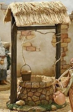 Town Well for Fontanini Christmas Nativity Collection - 32624305 Christmas Nativity Scene, Christmas Crafts, Christmas Decorations, Christmas Villages, Clay Crafts, Diy And Crafts, Fontanini Nativity, Jardin Decor, Deco Nature