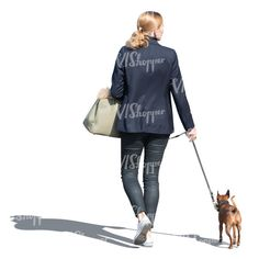 cut out woman walking a dog