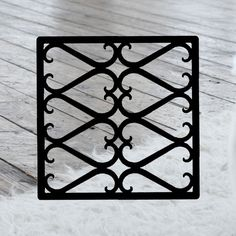 This decorative Wrought Iron Wall Art piece, Style 209,  features a Geometric square silhouette that will add beauty and character to any wall or surface. It is coated in one of the most long-lasting finishes available - a flat black baked-on powder coated finish that will last for many years. Wrought Iron Wall Art, Art Pieces, Powder, Surface, Wall Decor, Silhouette, Flat, Crafts, Character