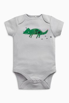 Buy Green/White Dinosaur Short Sleeve Bodysuits Three Pack (0mths-2yrs) from the Next UK online shop