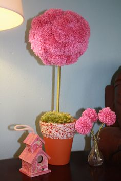 Pom Pom Flower Topiary. $26.00, via Etsy.