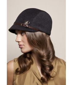 Muffy charcoal wool equestrian cap with brown calf belt and feather - Eugenia Kim