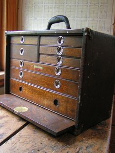 Vintage Union Tool Chest - Wood Machinist's Chest With Eight Drawers