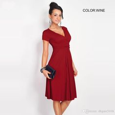 8b57cc58bf Womens Summer Casual A Line Cap Sleeve V Neck Empire Pleated Knee Length  Dress Solid Color Ladies Nice Dresses Green And White Dress For Party From  ...