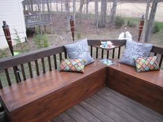 Refinished Deck with hand-made bench seating, Just stained the 4yo deck and made bench  seating with water-tight storage!  Total cost=$90 , Patios & Decks Design