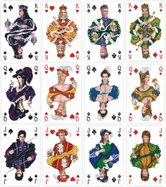 Russian playing cards - I dont like the illustration, but I like the idea of each court having their own specific colors, and I like that the Spades are indigo and purple, and not black