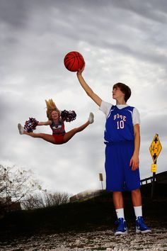 Teen Photo  Jumping  Cheerleader  Basketball  Twins Portrait - sports picture - sibling picture- senior pose ideas-friends
