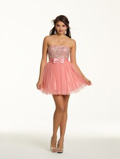 A-line Strapless Tulle Satin Short/Mini Pink Bow Homecoming Dresses at Millybridal.com