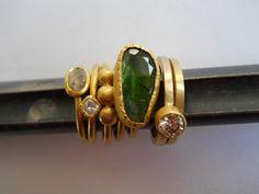 Pamela Harari's 22K Rings with Green Tourmaline and Diamonds
