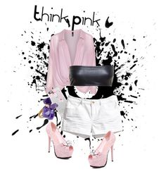 """""""Think Pink"""" by musie-della ❤ liked on Polyvore featuring Manon Baptiste, Love Leather, Casetify, H&M, Helix & Felix, Pink, NightOut and shorts"""