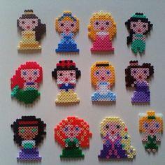 Disney Princess perler beads by vivilondi Perler Bead Designs, Hama Beads Design, Diy Perler Beads, Perler Bead Art, Fuse Bead Patterns, Perler Patterns, Beading Patterns, Perler Bead Disney, 8bit Art