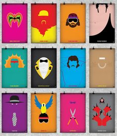 World's Wrestling Federation's success during the 80's and 90's wrestlers' The WWF Legends Minimalist Poster Series 80's , Andre the Giant , Ultimate Warrior , Wrestling , art , design , etsy , hulk hogan , legends , legion of doom , macho man , minimalist , poster , print , retro , undertaker , vintage , wwf
