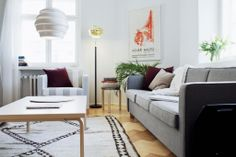 This living room represents a contemporary Nordic look - and has fantastic light!
