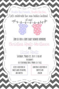 Double baby shower invitation I (Mary Catherine Brown) did for some friends. Studio Fourty60