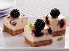 These tiny little berry bites are great for a crowd, and they're so simple to prepare. If you aren't able to find fresh blackberries in your supermarket, look for frozen ones (just thaw and drain well before you garnish). We bet you'll be giving away this recipe at your next potluck or family gathering!