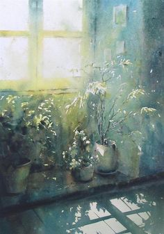 David Chauvin -wonderful use of light. Watercolor Artists, Watercolor Landscape, Watercolor And Ink, Watercolour Painting, Watercolor Flowers, Watercolors, Japan Watercolor, Art Inspo, Painting Inspiration