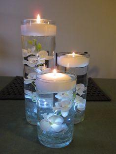 Orquídea blanca flotando vela boda decoración por RoxyInspirations