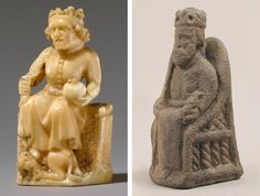 Left: Chess Piece of a King, second half 14th century. German, made in Cologne. Walrus ivory. The Metropolitan Museum of Art, New York, Pfeiffer Fund, 2000 (2000.153). Right: Game Piece in the Form of an Enthroned King, ca. 1200–1250. North German. Probably fine pumice stone. The Metropolitan Museum of Art, New York,