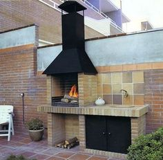 Amazing Outdoor Patio Barbecue Grill Ideas: Do you think that having a piece of BBQ stand in your house garden will bring a source of thrilling entertainment in the nightlife gatherings. Barbecue Grill, Design Barbecue, Barbecue Garden, Grill Design, Outdoor Barbeque, Outdoor Kitchen Bars, Outdoor Kitchen Design, Barbacoa Jardin, Parrilla Exterior