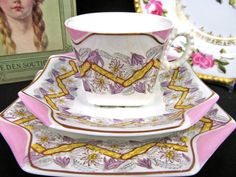 1862 JAMES BROADHURST J.B. & SON TEA CUP AND SAUCER PINK PAINTED TEACUP TRIO