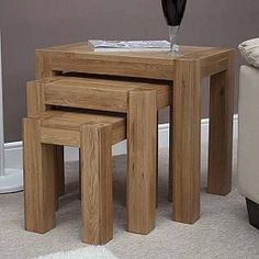 Buy Trend Oak Nest of Tables at best stockists sale price. Shop for Homestyle GB Trend Solid Oak Nest of Table from CFS Showroom or Online & Free Delivery in UK. Solid Oak Furniture, Oak Furniture House, Pine Furniture, Furniture For You, Quality Furniture, Vintage Furniture, Living Room Furniture, Furniture Nyc, Unique Furniture