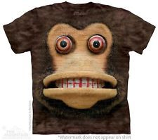 Big Face Cymbal Monkey T-Shirt by The Mountain. Creepy Clapping Monkey S-5XL