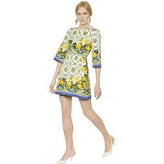DOLCE & GABBANA Lemon Printed Cotton Brocade Dress - Multi (€2.055) ❤ liked on Polyvore featuring dresses, multi, three quarter sleeve dress, flared sleeve dress, 3/4 sleeve dress, bell sleeve dress and dolce gabbana dress