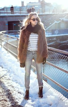 Shop this look on Kaleidoscope (coat, shirt, jeans, scarf, sunglasses, boots)  http://kalei.do/WbL612txxqKLK5Ps