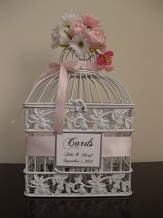 White Bird Cage Wedding Card Holder / by TreasuredCelebration, $45.00