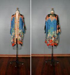 vintage . silk . kimono . MORNING SONG . floral . art . nouveau . robe