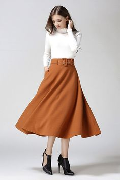 Fashion A-line Pure Color Woolen Long Skirt With Belt On